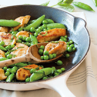 Sautéed Chicken Tenders with Peas and Mint.
