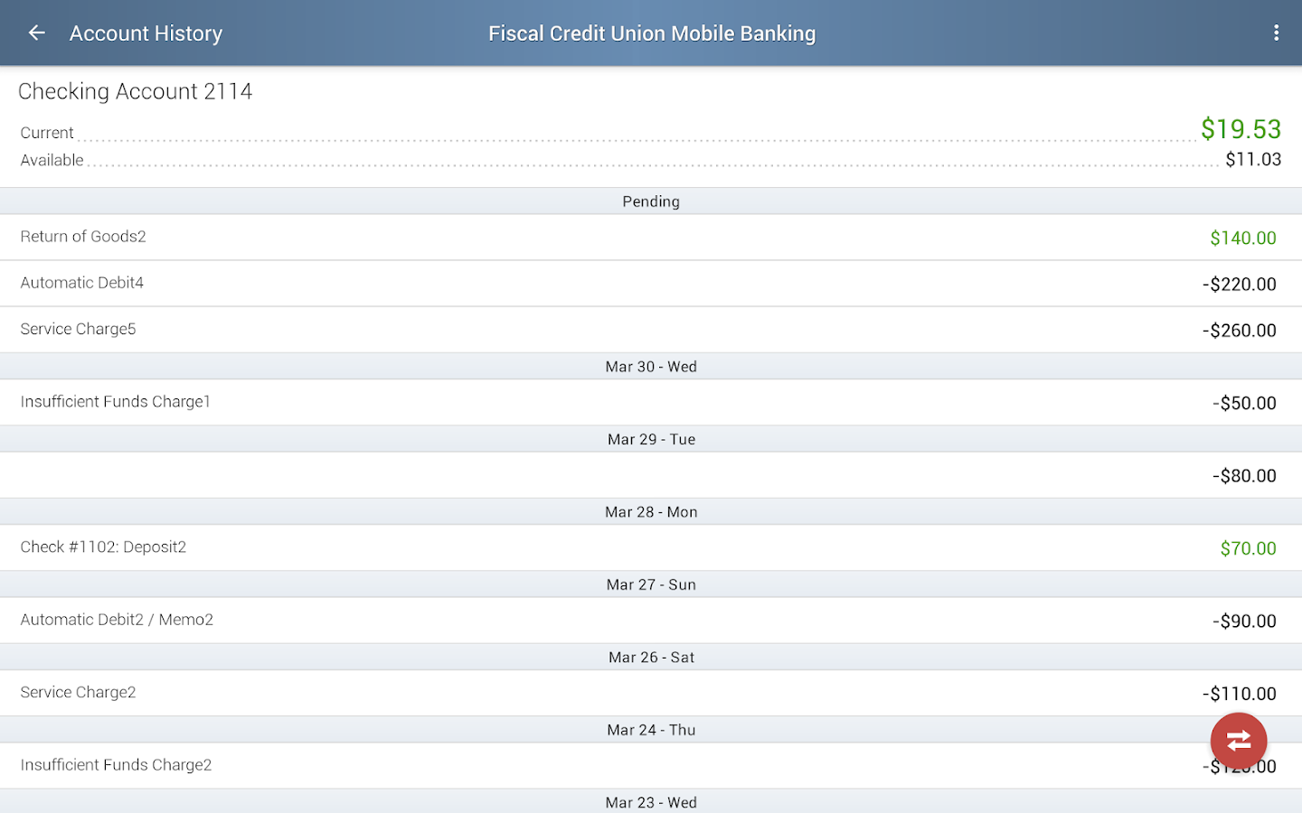 Fiscal Credit Union Mobile App- screenshot