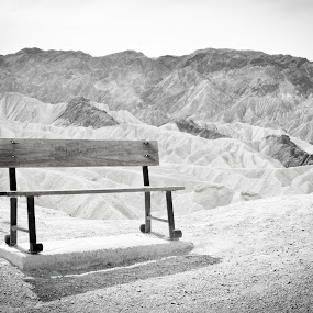 Lonely Bench by Heidi Loomis - Landscapes Deserts ( desert, mountain, sky, bench, lonely )