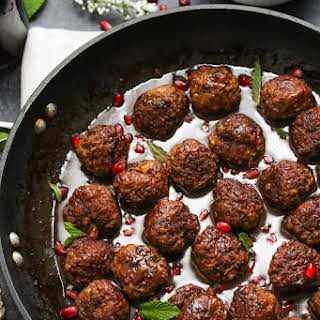 Beef and Bulgur Meatballs in Pomegranate Sauce.