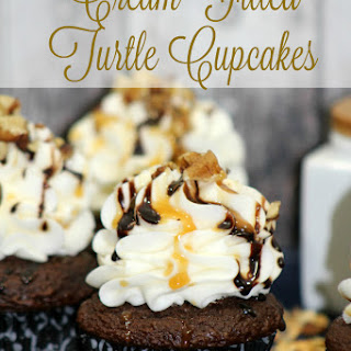 Cream Filled Turtle Cupcakes