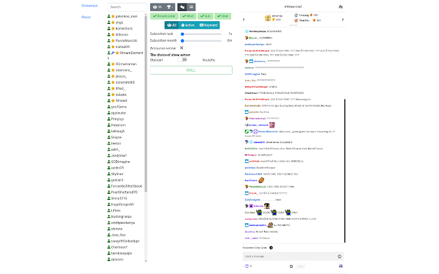 Tool for Giveaways in Twitch chat