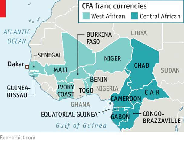 Africa map CFA