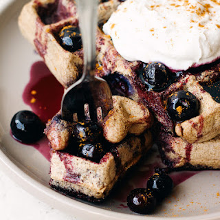 BUCKWHEAT WAFFLE WITH BLUEBERRY MAPLE SYRUP, FOR ONE