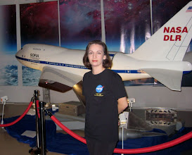 """Photo: Me with the scale model of SOFIA, or the """"Stratospheric Observatory for Infrared Astronomy"""""""