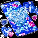 Blue hearts crystal diamonds live wallpaper icon