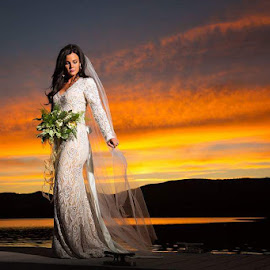 Sunset by Kylie Nielson Howes - Wedding Bride ( sky, bridal portraits, wedding, sunset, wedding dress, bride )