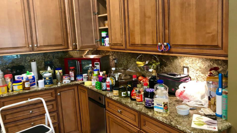 a kitchen in the middle of being organized