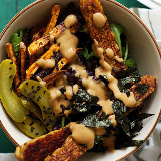 Wild Rice Bowl With Sweet Potato Fries, Tempeh, and Pickles [Vegan]