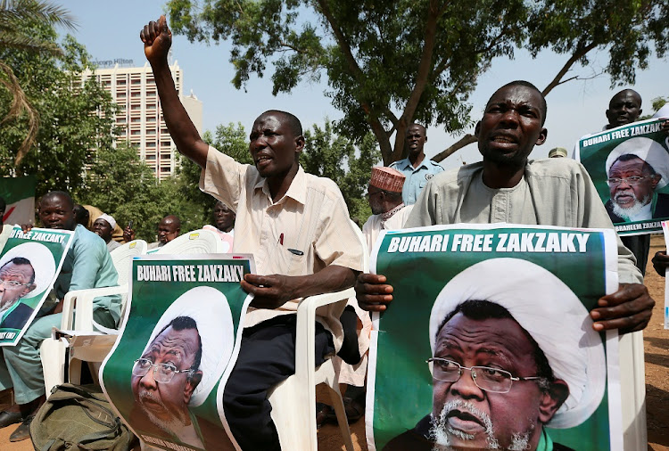 Protesters hold banners calling for the release of Sheikh Ibrahim Zakzaky, the leader of the Islamic Movement of Nigeria, in Abuja, Nigeria, in January 2018. Picture: REUTERS/AFOLABI SOTUNDE