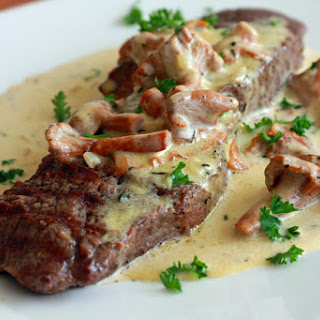 Steak With Creamy Chanterelle Sauce.