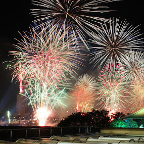 Riverfire 2013 by Lance Barrett - Abstract Fire & Fireworks ( riverfire, 2013, brisbane, fireworks, river )