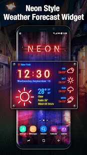 Weather App Neon Theme 2018 - náhled