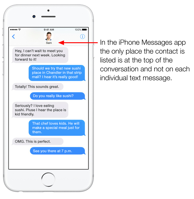 Messages app showing contact on each text message