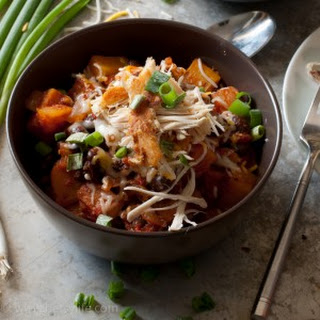 Black Bean and Butternut Squash Chili with Crispy Shredded Chicken.