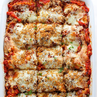 Lightened Up Chicken Parmesan Lasagna.
