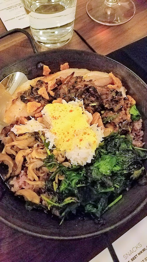 Chefs Week PDX 2017 Heritage Dinner at Chesa on May 7, Peter Cho (Han Oak) created a dish of Roasted Pork and Dungeness Crab Dolsot Bibimbap, Charred Calcot, Spinach, Pickled Daikon