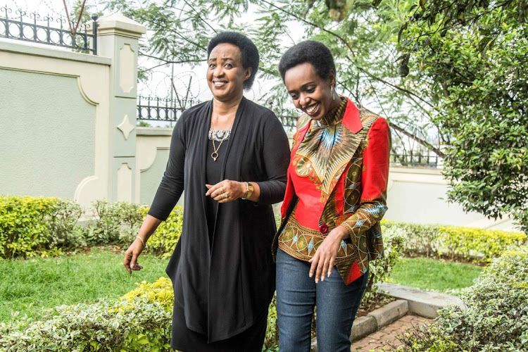 Diane Rwigara (right) and her mother Adeline Rwigara (left). Picture: AFRP/CYRIL NDEGEYA