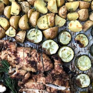 One Pan Garlic Rosemary Chicken, Potatoes, & Zucchini.
