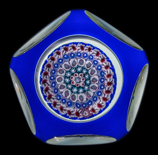 Double Overlay Concentric Millefiori Mushroom Paperweight
