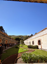 Photo: One of the courtyards with a view of the volcano