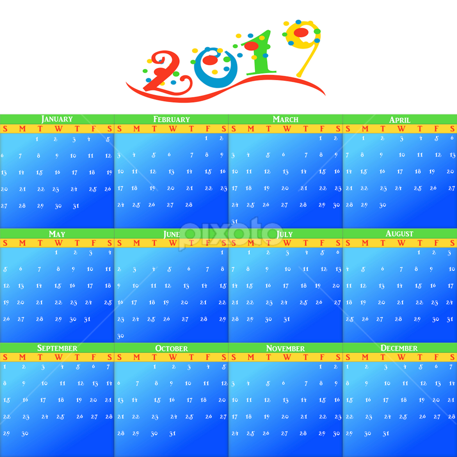 2019 year monthly calendar by Dipali S - Illustration Business ( calendar, date, calculator, new, business, calender, black, isolated, numbers, 2019, diary, number, blue, month, monthly, illustration, page, day )