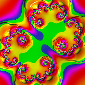 Rainbow Bubblegum Fractal by Pam Blackstone - Illustration Abstract & Patterns ( orange, spirals, red, blue, green, curls, yellow, fractal, rainbow,  )