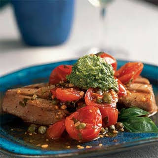 Grilled Tuna with Basil Butter and Fresh Tomato Sauce.