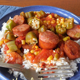 SMOKED SAUSAGE, TOMATOES AND OKRA SKILLET.