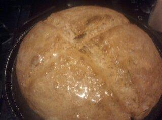 Bake about 45 minutes or until bread is browned and sounds hallow when tapped...