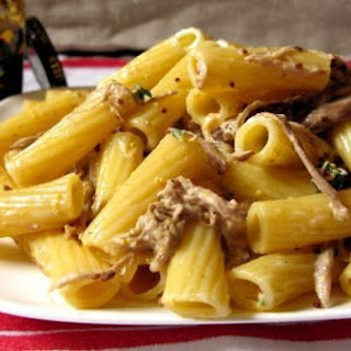 Rigatoni with Shredded Pork in Mustard Cream Sauce
