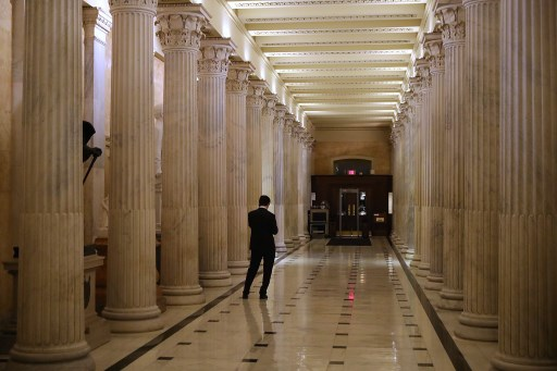 Hallways were quiet inside the U.S. Capitol as debate in the Senate stretches on February 8, 2018 in Washington, DC.