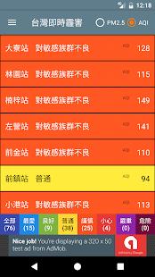 台灣即時霾害 Taiwan PM2.5, PM10, AQI  螢幕截圖 5