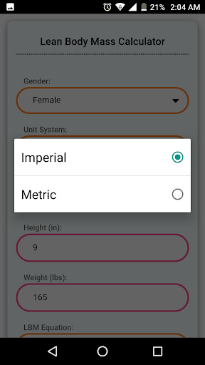 Lean Body Mass Calculator 6.0 screenshots 3