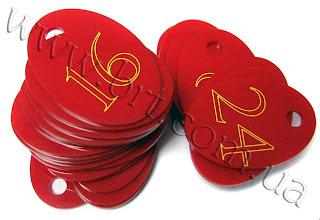 Photo: Номерки для ключей. Красный акрил, надрез лазером, желтая краска