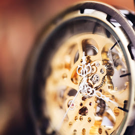 Time Piece by Joshua Clifford - Artistic Objects Still Life ( hands, pocketwatch, steampunk, yellow, mechanical, simplyintricate, intricate, skeleton, seconds, timepiece, blurred, gears, macro, hours, minutes, cool, metal, windup, orange, closeup, detailed, watch, dof, shallow, colourful, detail, time, photography, colours,  )