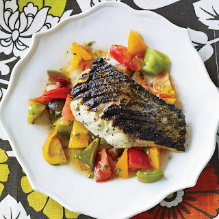 Grilled Striped Bass with Indian-Spiced Tomato Salad.