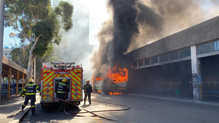 A Golden Arrow bus goes up in flames in central Cape Town on April 25 2019.
