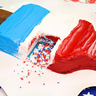 DIY Red, White, & Blue Giant Bomb Pop PiñAta Cake & Giveaway! Recipe