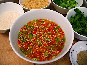 Photo: pickled Thai chilli sauce for Ayuthaya-style noodles