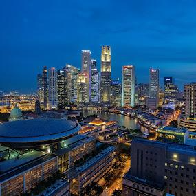 City of Lights by Martin Yon - City,  Street & Park  Skylines ( skyline, singapore, city )