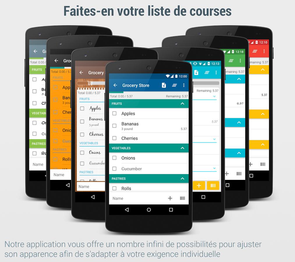liste de courses lister applications android sur google play. Black Bedroom Furniture Sets. Home Design Ideas
