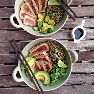 Sesame Crusted Tuna and Soba Noodle Bowls.