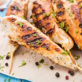 Carolina Style BBQ Chicken Skewers.
