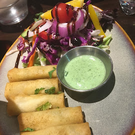 I love Indian food by Dawn Simpson - Food & Drink Plated Food ( indian food, samosas, multi cultural, dipping sauce, delicious )