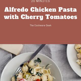 Alfredo Chicken Pasta With Cherry Tomatoes.
