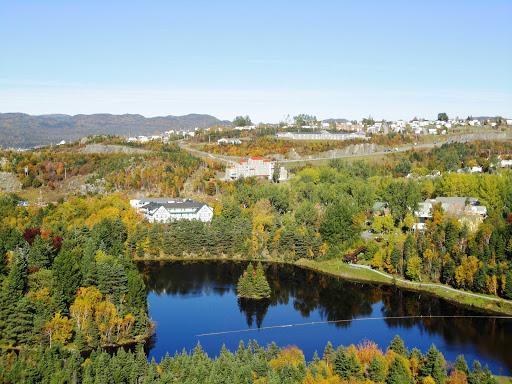 Aerial of Glynmill Inn Pond in Corner Brook, Newfoundland.