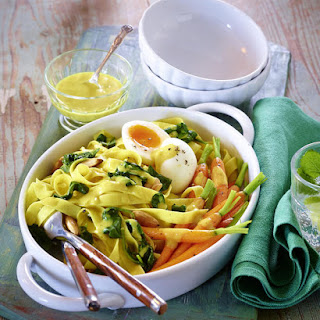 Curried Tagliatelle with Glazed Carrots and Soft Boiled Eggs