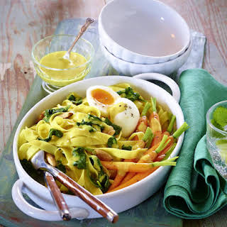Curried Tagliatelle with Glazed Carrots and Soft Boiled Eggs.