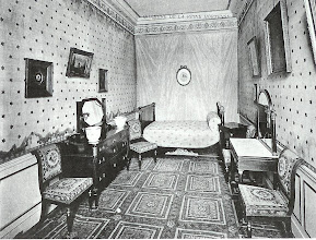 Photo: A bedroom from the early 1800's, belonging to Princess Hortense in Chateau Malmaison. It was noted when this photo was published that the room had been untouched since then.